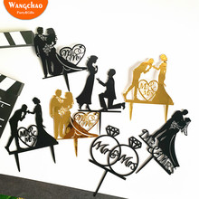 Black Gold Love Proposal Engagement Anniversary Wedding Acrylic Cake Topper Romantic Decoration Party Supplies