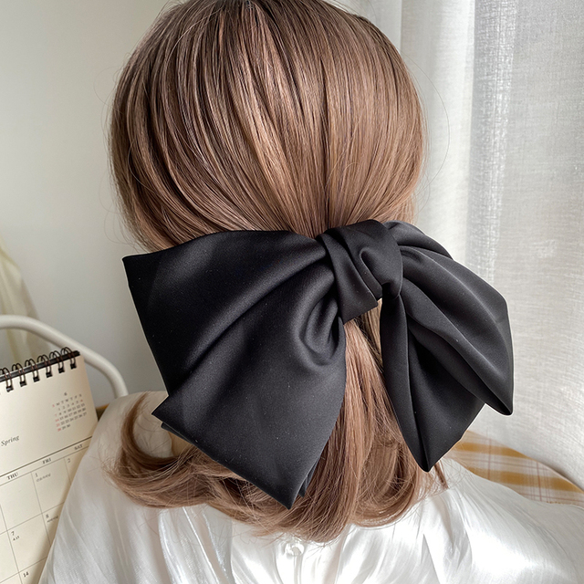 High Quatity Solid Color Big Bow Hairpins For Girl Popular Hair Clip For Women Sweet Two-layer Satin Hairgrip Hair Accessories 4
