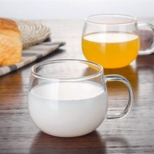 Heat-resistant Glass Milk Coffee Cup Thickened Flower Teacup with Handle Single-layer Water Cup Teacup Set Shot Glasses Set