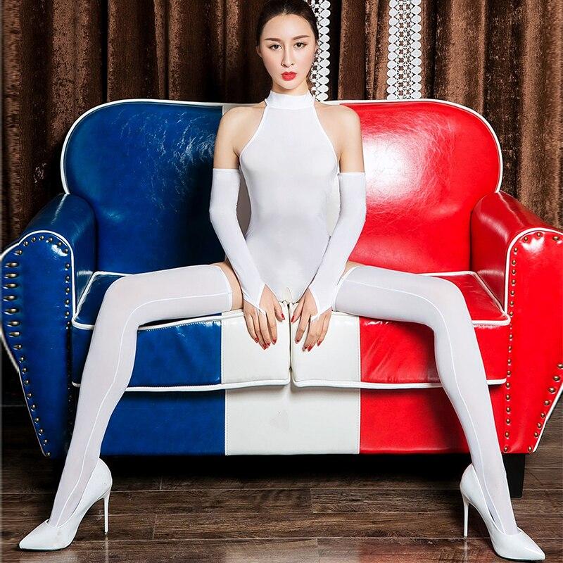 High Elasticity Sexy Women Night Clubwear Ice Silk Shiny High Cut Open Crotch Bodysuit Turtleneck Bodysuit Jumpsuits with Glove