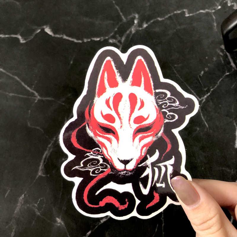 1 Pcs Jepang Fox Masker Stiker Graffiti Stiker Koper Laptop Motor Kulkas Auto Aksesoris Mainan Style Decals