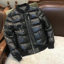 Yr! Gratis Verzending. Klassieke Casual Stijl Lederen Jacket.80 % Witte Eendendons Schapenvacht Jas. Winter Warm Lederen Kleding