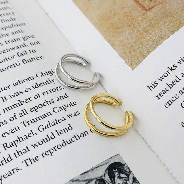 Фото женское открытое кольцо в корейском стиле серебряное двухслойное