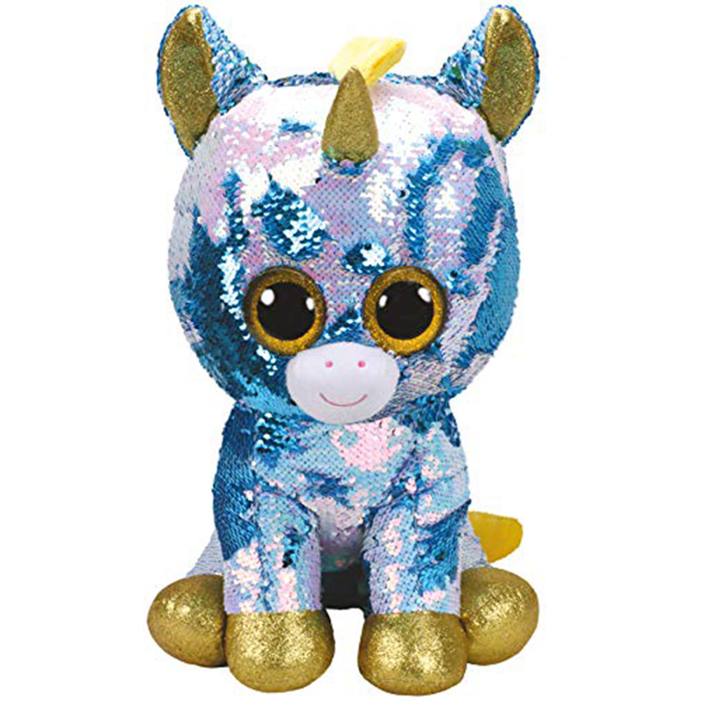 """Pyoopeo Ty Flippables 20"""" 50cm Dazzle the Blue Unicorn Plush Regular Big-eyed Stuffed Animal Collectible Doll Toy with Heart Tag"""
