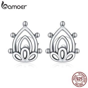 bamoer 925 Sterling Silver Lotus Bud Ear Earrings for Women Minimalist Fine Hypoallergenic  Elegant Weddings jewelry SCE989 1