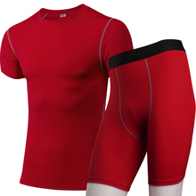 Mens Compression Tights Tracksuit Men Quickly Dry Sportswear Gym T-Shirt Yoga Shorts Running Set Fitness Demix Sports Suit