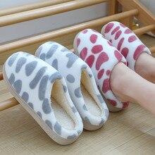 Милые теплые домашние тапочки в горошек; женская обувь; Новое поступление; хлопковые мягкие плюшевые домашние тапочки; женская домашняя обувь; Zapatos De Mujer
