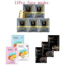 11Pcs mixed 24K Gold mask vitamin rice beans Collagen Face Mask Moisturizing Whitening Anti-Aging black Facial Masks skin care