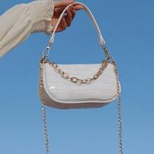 Sac à bandoulière en cuir motif Crocodile pour femmes, petits sacs à main Baguette à la mode, Design de luxe, pochette à épaule pour dames