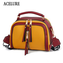 ACELURE Letter Wide Strap Small Shoulder Bags Solid PU Leather Women Handbags All-match Fashion Messenger Bags Ladies Purses(China)