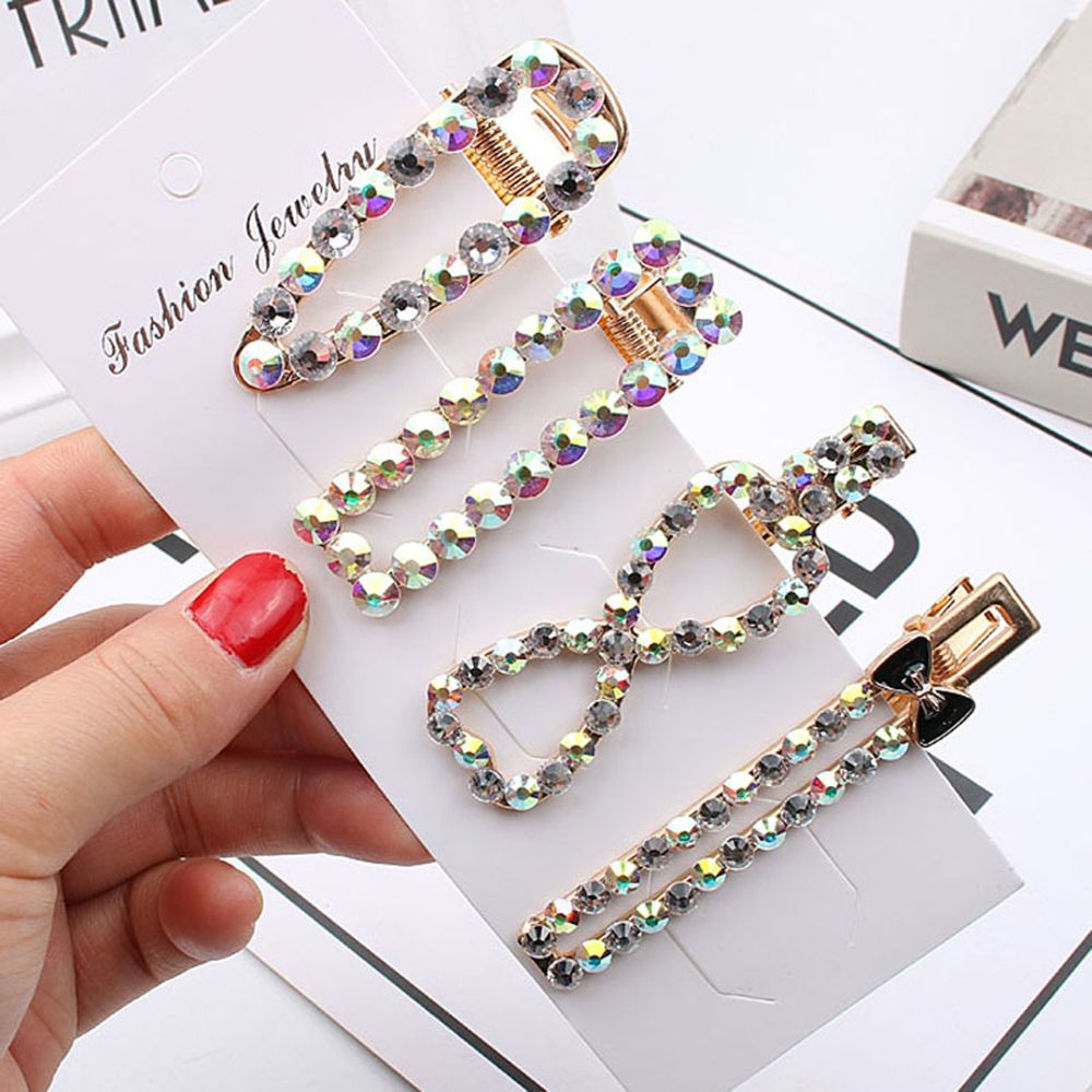 2019 Bling Rhinestones Hair Clip For Women Girls Geometric Hair Barrette Rectangle Hairpin Styling Accessories Trendy