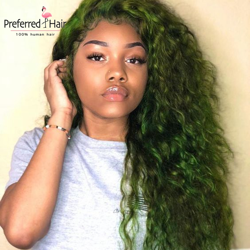 Preferred 13x4 Algae Green Curly Lace Front Wig Brazilian Transparent Lace Wigs Remy Lace Front Human Hair Wigs For Black Women