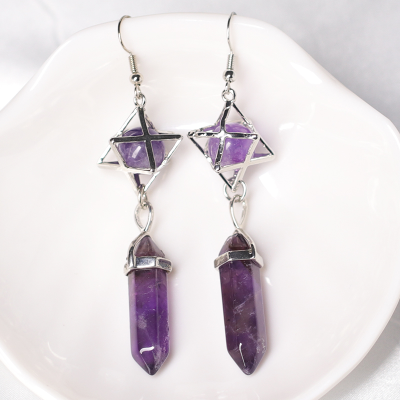 1 adet doğal kristal küpe, kristal cevheri sihirli restorasyon ve şifa kristal altıgen Pillar küpe, kadın mücevheratı DIY hediye