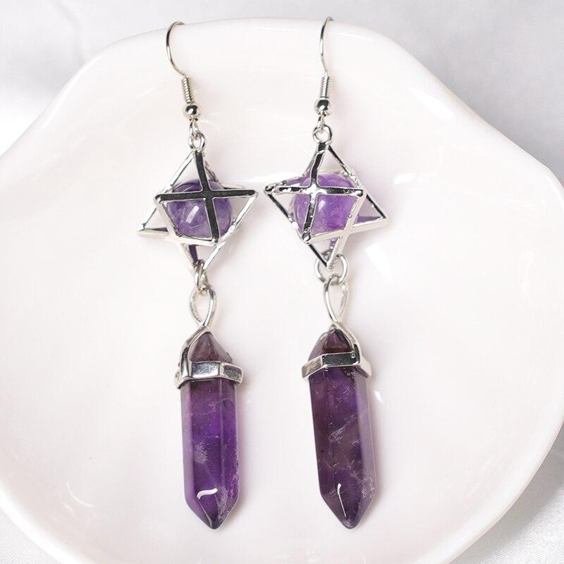 1PC Natural Crystal Earrings, Crystal Ore Magic Restoration And Healing Crystal Hexagon Pillar Earrings, Female Jewelry DIY Gift