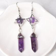 1pc brincos de cristal natural, cristal minério magia restauração e cura cristal hexágono pilar brincos, jóias femininas presente diy
