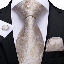 Men Tie Gold Silver Paisley Wedding For Hanky CufflinkS Silk Set Party Business Fashion DiBanGu Designer MJ-7248