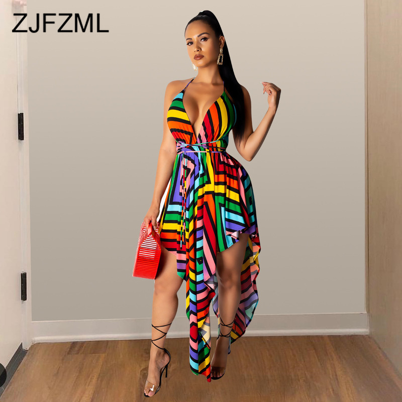 Rainbow Striped Sexy Irregular Dress Women Spaghetti Strap Backless Plus Size Dress Summer Deep V Neck Sleeveless Bohemian Dress|Dresses|   - AliExpress