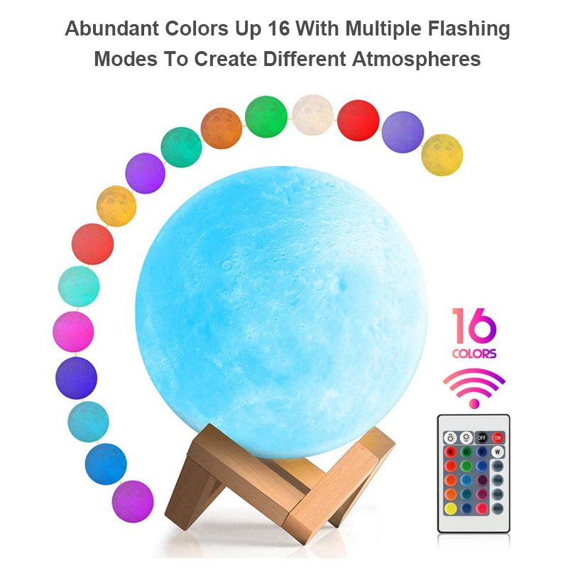 3D print moon lamp night light USB Rechargeable For the house Color Remote  Control lampara Decor gift nightlights Free Shipping