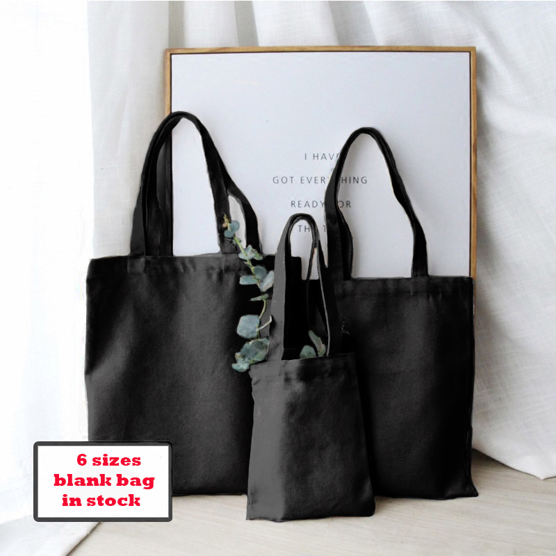 GABWE Unisex Shopping Bag Canvas Tote Bag Print Your Design Black Shoulder Totes For Travel Grocery Reusable Eco Cotton Handbags