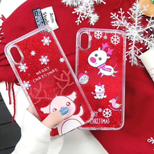 Lovely Christmas Case For iPhone 7 8 6 6S Plus Soft TPU Quicksand X Xr Xs Max Cover New Yea