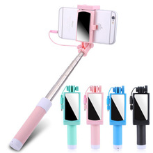 Universal Mini Selfie Stick Button Wired Silicone Handle Monopod For iPhone Samsung Huawei for Xiaomi Extendable Selfie stick floveme mini selfie stick with button wired handle extensible monopod universal for iphone 7 6 5 android samsung xiaomi sticks