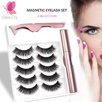 Cellacity 5 Pairs Magnetic Eyelashes natural long Magnetic Liquid Eyeliner & Magnetic False Eyelashes & Tweezer Set Make up set