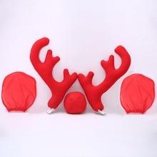 Дизайн, креативный Рождественский автомобильный костюм, украшение, полный набор, с 2 рогами, 1 оленем, нос, 2 Mirrow, чехлы, Прямая поставка