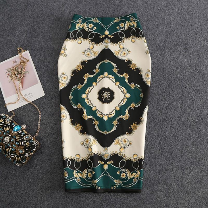 2019 New-Coming European Women Autumn Pencil Skirt High Stretch Diamond Jewelry Pattern Midi Slip Hip Skirt Female