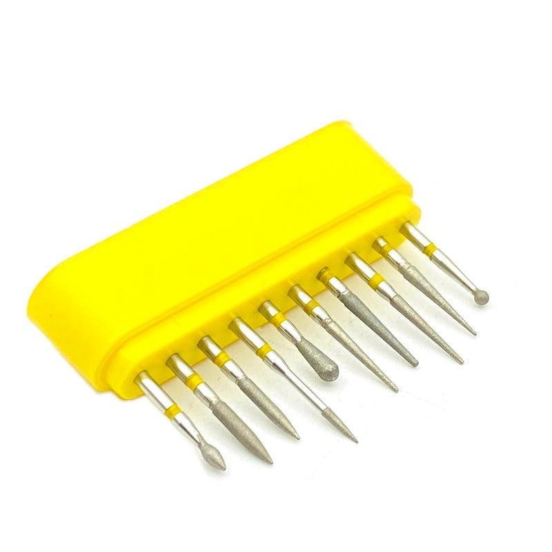 10pcs/set Dental Diamond Burs For High Speed Handpiece Dental High Speed Burs Dentist Polish Tool