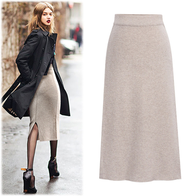 Vintage Winter Skirts Women Elastic High Waist Ladies Elegant Bodycon Long Skirts Female Plus Size Solid A-line Knitted Skirts