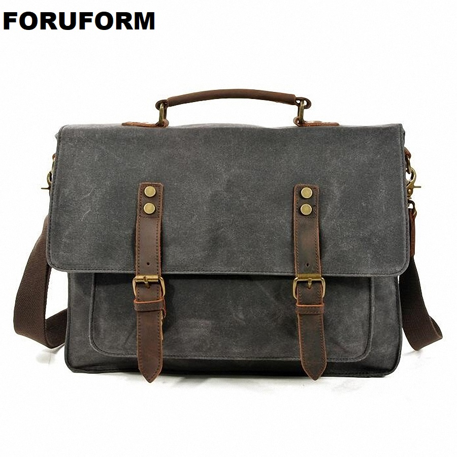 Mens Messenger Bag 15.6 Inch Waterproof Canvas Leather Waxed Canvas Briefcase Vintage Leather Computer Laptop Bag Satchel LI2586