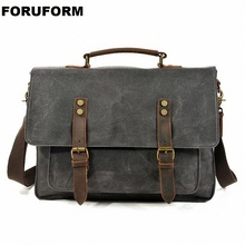 Mens Messenger Bag 15.6 Inch Waterproof Canvas Leather Waxed Canvas Briefcase Vintage Leather