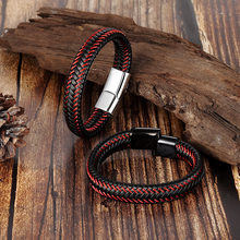 15 styles Men Genuine Leather Bracelet Braided Stainless Steel Magnet Clasp Bracelets Simple Leather Bracelet Men Jewelry 2019(China)
