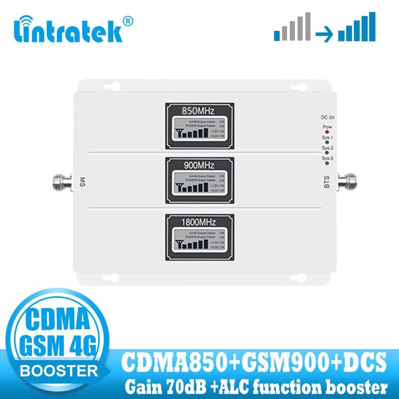 Lintratek Tri Band Cellular Signal Repeater CDMA 850 GSM 900  DCS1800 Mobile Phone Signal Booster 2G GSM 4G Internet Amplifier