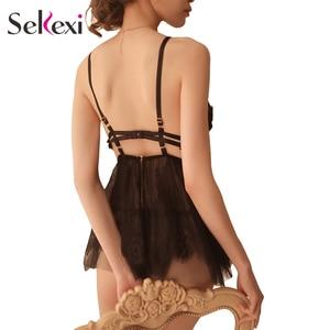 Image 2 - Frauen Sexy Dessous + Höschen Nachthemd Set Damen Sexy Dessous Heiße Erotische Nachtwäsche Babydoll Sexy Unterwäsche Nacht Kleid