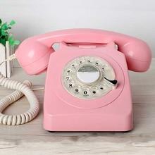 Dial giratorio Vintage rosa begie negro teléfono fijo plástico oficina en casa Retro cable fijo teléfono estilo europeo