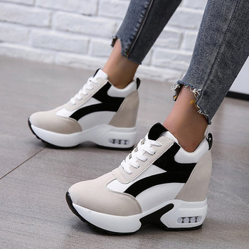 Women Platform Vulcanized Shoes Ladies Lace Up Casual Light Suede Shoes Woman Fashion Sneakers Female Ankle Heel Footwear 2021