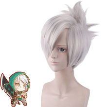 Cosplay Hot Popular Game League of Legends Blade of Exile Raven Silver Grey Wig LOL Blade of Exile Raven Silver Grey Wig 35cm(China)