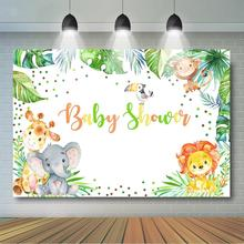 цена на Safari Baby Shower Backdrop Wild Jungle Animals Baby Shower Party Decoration Lion, Elephant, Giraffe, Safari Zoo Background