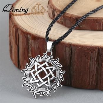 QIMING Alatyr estrella, símbolo del sol amuleto de colgante nórdico Occult Germanic pagano hombres collar antigua joyería eslavo