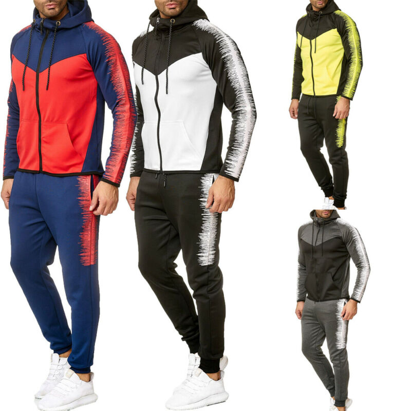 2Pcs Men's Tracksuit Jogging Patchwork Hoodies Coat Jacket +Drawstring Trousers Pants Sports Sweatsuit Men's Set Sportswear