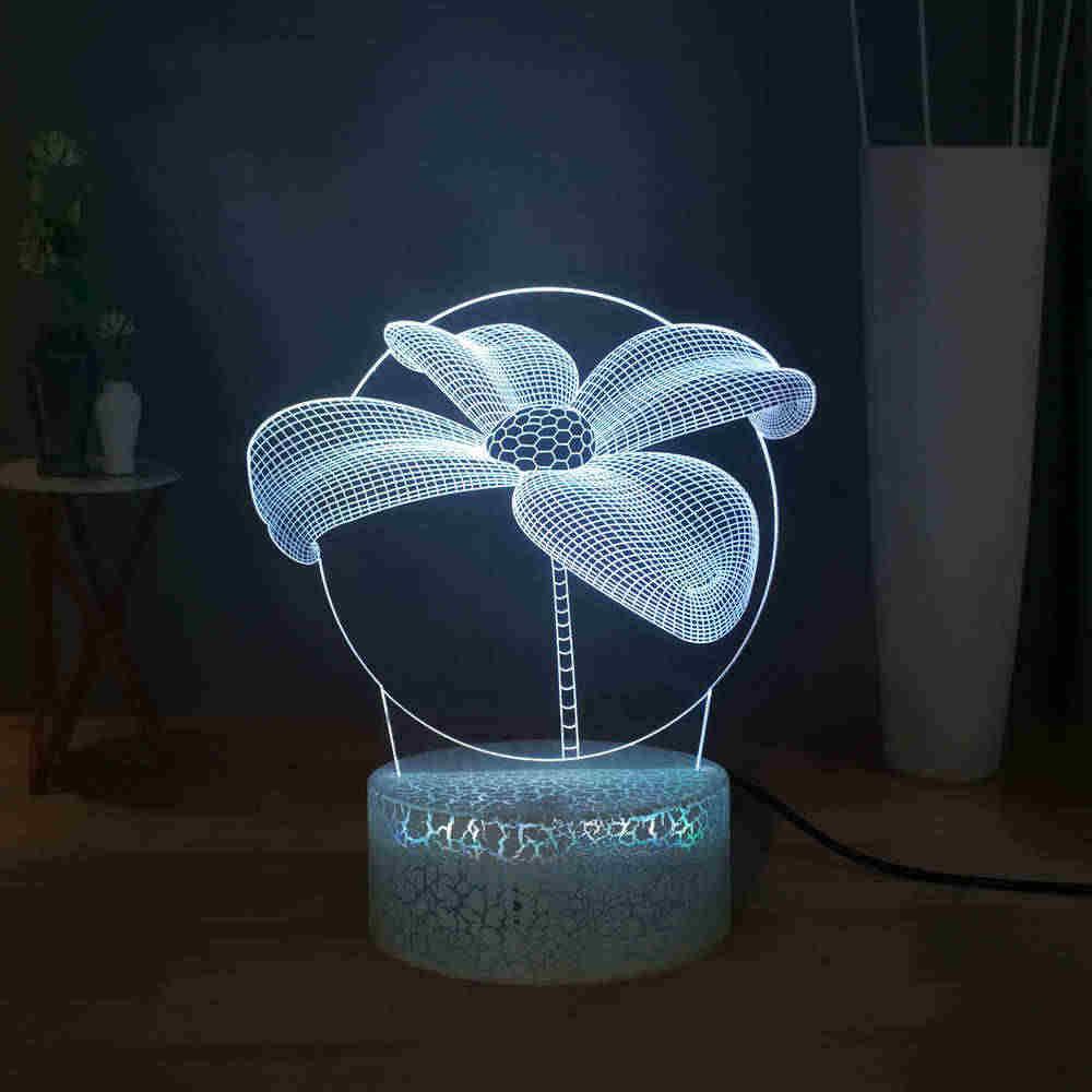 Sconosciuto Fiore Lampada Da Tavolo RGB 7 colorato Acrilico LED Ragazze Della Luce di Notte Sveglio Camera Dei Bambini Decor USB Toccare Lampada Da Tavolo regalo del bambino Del Giocattolo