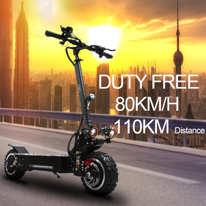 80km/h 60v <font><b>3200w</b></font> electric <font><b>scooter</b></font> 11inch Off Road <font><b>3200w</b></font> dual motor wheel foldable electric skateboard escooter duty free image