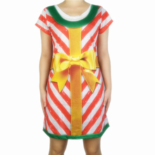 Cute Christmas Gift Box Printed Dress for Women Kawaii Girls Short Sleeve Holiday Party Dresses Plus Size