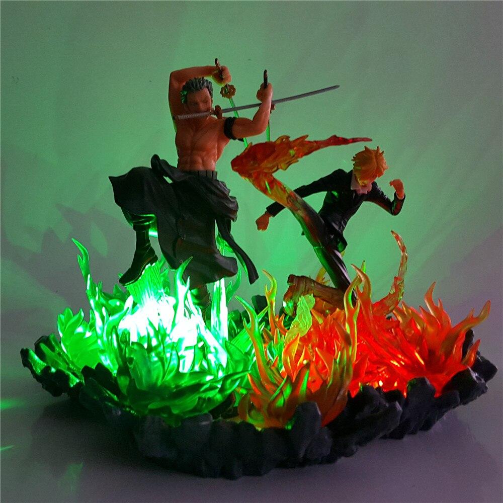 Figuras de una pieza Zoro Sanji DIY Led luces de noche fuego de una pieza lámpara de mesa LED Zoro para decoración del hogar regalo de Navidad Novedad hongo luz nocturna UE y EE. UU. Enchufe Sensor de luz 220V 3 LED lámpara de hongo colorido Led luces de noche
