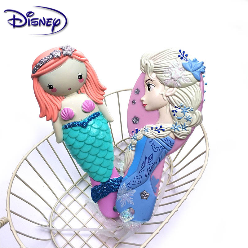 Disney Princess Frozen Hair Brush Brosse Cheveux Kids Gentle Anti-static Brush Curly Tangle Mermaid Bristles Handle Tangle Comb