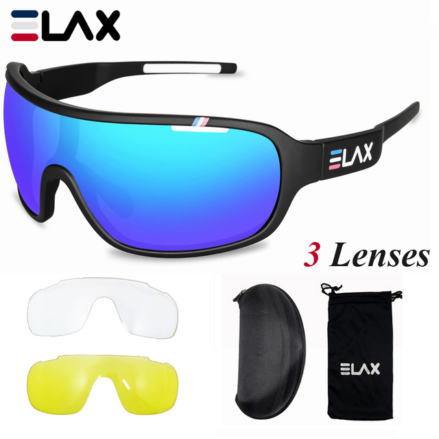 ELAX Brand 2019 New 3 Lenses Sport Cycling Glasses Men Women Outdoor Cycling Sunglasses Mtb Bike Bicycle Eyewear UV400 Goggles