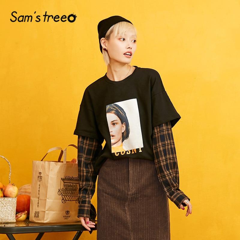 Samstree Plaid Sleeve Figure Print Patchwork Cute 2 In 1 Sweatshirt Women 2019 Autumn Korean Style Leisure Oversize Sweatshirts