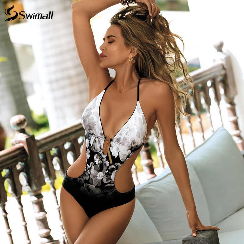 2020 طباعة قطعة واحدة ملابس السباحة النساء العميق الخامس Monokini ارتداءها عارية الذراعين ثوب السباحة الشاطئ ارتداء عالية قطع لباس سباحة