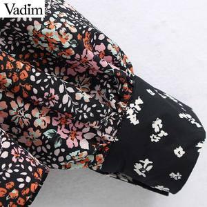 Image 5 - Vadim femmes rétro fleur patchwork blouse poche décorer à manches longues chemises femme décontracté élégant hauts blusas LB746